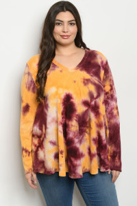 C17-A-1-T13887X WINE MUSTARD TIE DYE PLUS SIZE TOP 3-3-2
