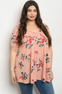 C18-A-6-T12329X PEACH FLORAL PLUS SIZE TOP 2-2-2