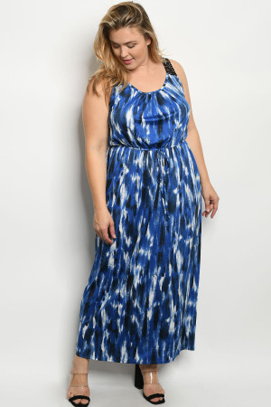 C24-A-6-D13694X NAVY BLUE PLUS SIZE DRESS 2-2-2