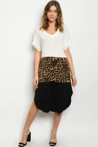 C12-A-1-D13843 IVORY BLACK ANIMAL LEOPARD PRINT DRESS 1-2-4