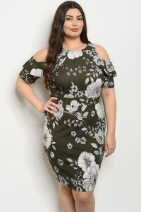 S22-13-3-D12017X OLIVE WITH FLOWER PRINT PLUS SIZE DRESS 2-2-2