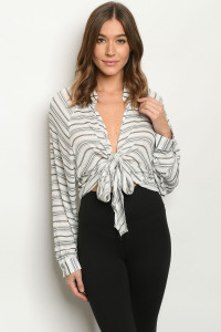 S15-9-1-T16408 WHITE BLACK STRIPES TOP 3-2-1