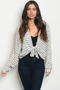 S23-12-1-T16408 WHITE BLACK STRIPES TOP 4-2-1
