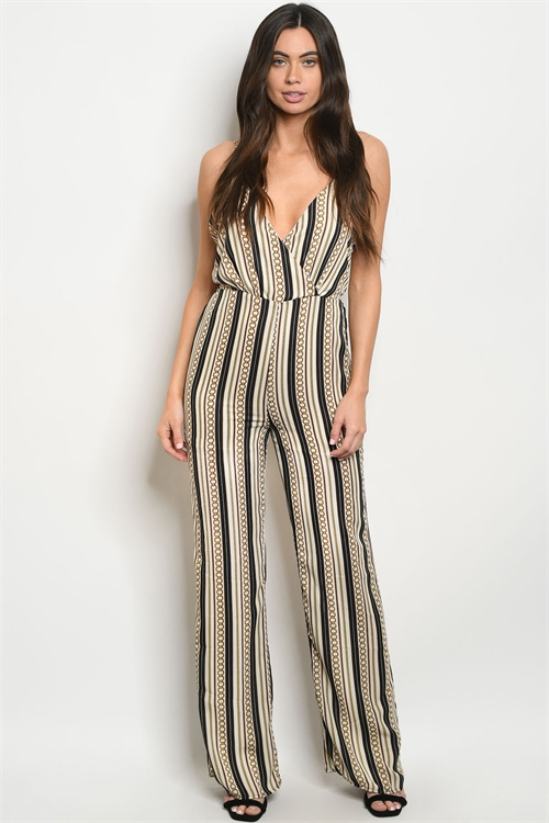 C47-A-1-J4927 IVORY BLACK WITH CHAIN PRINT JUMPSUIT 4-2-1