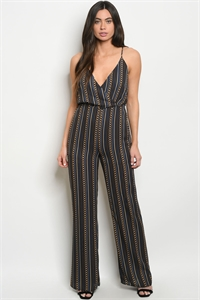C50-A-5-J4927 NAVY MUSTARD WITH CHAIN PRINT JUMPSUIT 3-2-1