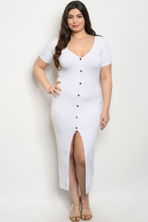 C99-A-2-D1982X WHITE PLUS SIZE DRESS 2-2-2
