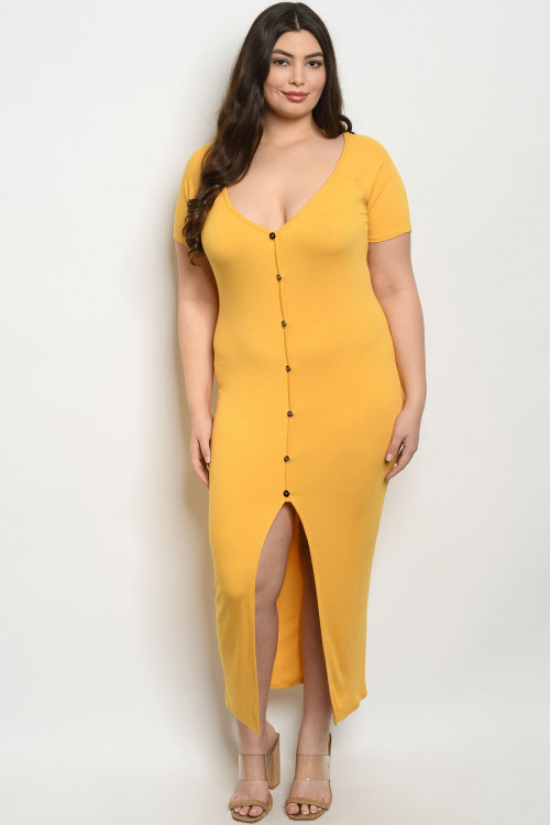 C101-A-2-D1982X MUSTARD PLUS SIZE DRESS 2-2-2