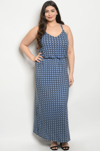 C11-A-1-D1035X BLUE WHITE PRINT PLUS SIZE DRESS 1-2-3