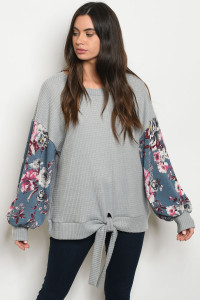 C9-B-6-T5131 GRAY BLUE FLORAL TOP 2-2-2-1