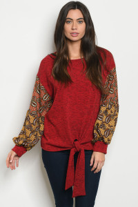 S11-20-2-T5136 RED WITH PAISLEY PRINT TOP 2-2-2-1