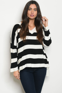 S10-19-2-T1942 BLACK IVORY STRIPES SWEATER 4-2-1