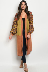 S12-9-2-C33421 RUST MUSTARD WITH PAISLEY PRINT CARDIGAN 3-3