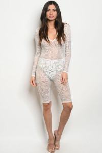 S10-16-3-J41151 WHITE WITH RHINESTONE JUMPSUIT 3-2-2  ***WARNING: California Proposition 65***