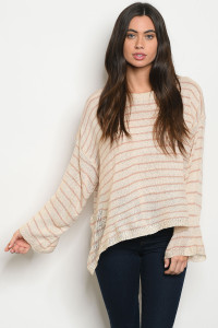 S11-11-3-T1314 PEACH OATMEAL STRIPES SWEATER 3-2-1