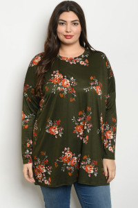 C40-A-1-T391X OLIVE WITH FLOWER PRINT PLUS SIZE TOP 3-2-2