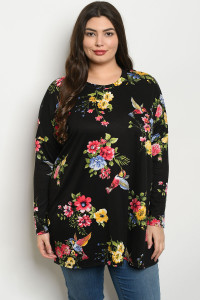 C40-A-1-T391X BLACK WITH FLOWER PRINT PLUS SIZE TOP 3-2-2