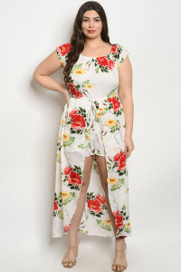 S14-8-2-J32481X WHITE FLORAL PLUS SIZE JUMPSUIT 2-1-1