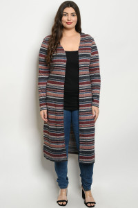 S14-8-2-C51870X BURGUNDY STRIPES PLUS SIZE CARDIGAN 3-2-1