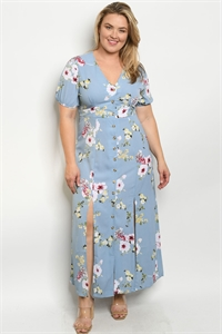 S14-8-2-D25732X BLUE FLORAL PLUS SIZE DRESS 3-2-2