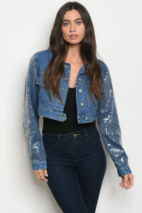 S12-3-3-J74123 BLUE DENIM WITH SEQUINS JACKET 1-2-2-1  ***WARNING: California Proposition 65***
