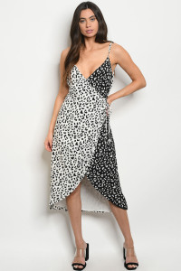 S20-9-2-D30261 WHITE BLACK LEOPARD PRINT DRESS 1-2-2-1