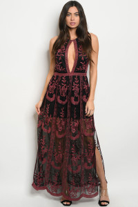 S16-7-3-D30224 BLACK RED EMBROIDERY DRESS 1-2-2-1