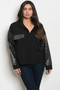 S16-12-3-J10196 BLACK SILVER WITH SEQUINS JACKET 1-3-2-1  ***WARNING: California Proposition 65***