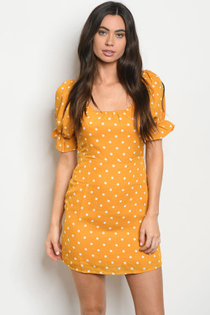 S19-7-3-D73940 MUSTARD WHITE WITH DOTS DRESS 1-1-2-1