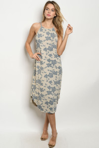 C6-A-5-D9715 TAUPE BLUE DRESS 2-2-2