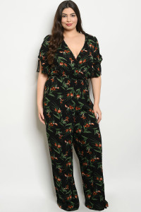 C52-A-1-J4479X BLACK FLORAL PLUS SIZE JUMPSUIT 3-3-2