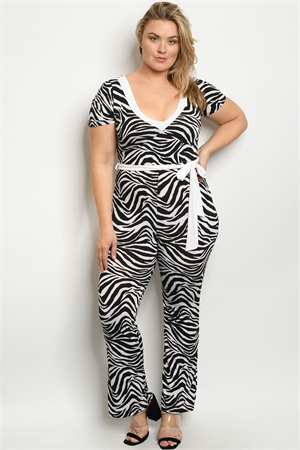 C35-A-2-J4446X WHITE BLACK ZEBRA ANIMAL PRINT PLUS SIZE JUMPSUIT 2-2-2