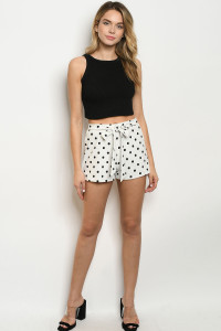 C65-B-2-S95866 WHITE BLACK WITH DOTS SHORTS 2-2-2