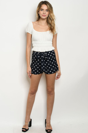 C73-B-2-S95866 NAVY WHITE WITH DOTS SHORTS 2-2-2