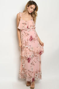 S11-19-4-D1049 PINK WITH FLOWER PRINT DRESS 3-2-1