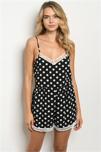 S18-12-2-R3883 BLACK WHITE WITH DOTS ROMPER 4-1-2