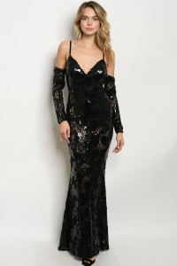 S21-1-2-D1312 BLACK WITH SEQUINS DRESS 3-2-1  ***WARNING: California Proposition 65***