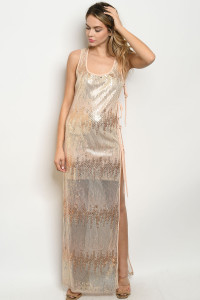 S14-2-3-D1092 ROSE GOLD WITH SEQUINS DRESS 3-2-1  ***WARNING: California Proposition 65***