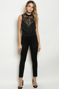 S14-5-4-J5022 BLACK WITH SEQUINS JUMPSUIT 3-2-1  ***WARNING: California Proposition 65***