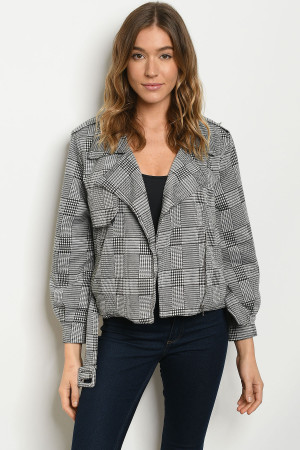 S11-11-2-J5480 BLACK WHITE CHECKERED JACKET 3-2-1