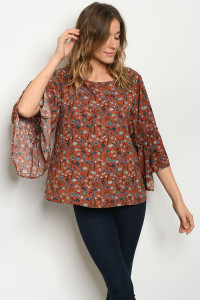 C36-B-2-T8897 RUST FLORAL TOP 2-2-2