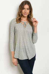 C45-A-1-T7325 OLIVE STRIPES TOP 2-1-2