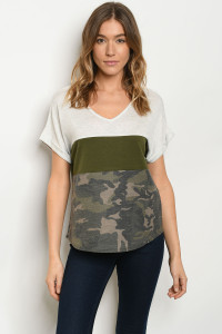 C14-B-3-T2388 OATMEAL OLIVE ARMY CAMOUFLAGE TOP 2-2-2