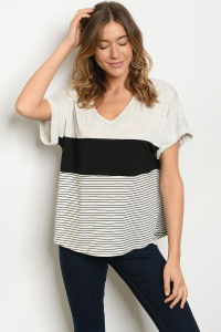 S20-12-4-T2388 OATMEAL BLACK STRIPES TOP 2-2-2