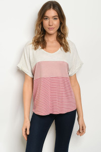 S20-12-4-T2388 OATMEAL MAUVE STRIPES TOP 2-2-2