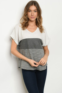 S19-11-4-T2388 OATMEAL CHARCOAL STRIPES TOP 2-2-2