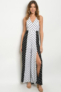 S18-11-4-J7272 BLACK WHITE WITH DOTS JUMPSUIT 3-2-1