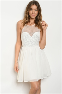 S24-5-1-D218 IVORY WITH SEQUINS DRESS 2-2-2  ***WARNING: California Proposition 65***