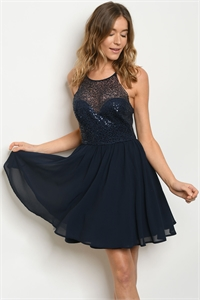 S24-5-2-D218 NAVY WITH SEQUINS DRESS 2-2-2  ***WARNING: California Proposition 65***