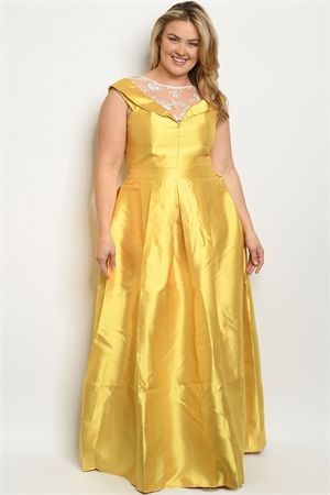 S9-6-1-D24686X MUSTARD PLUS SIZE DRESS 2-2-2