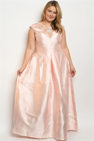 S18-1-2-D24686X PINK PLUS SIZE DRESS 2-2-2